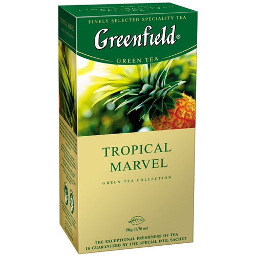 Зеленый чай Greenfield Tropical Marvel (с ананасом, имбирем) 25 пак.*2 гр